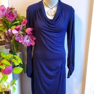 Max Studio navy blue midi dress, M